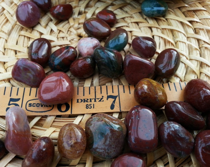 Fancy Jasper ~ 1 medium sized Reiki infused tumbled stone