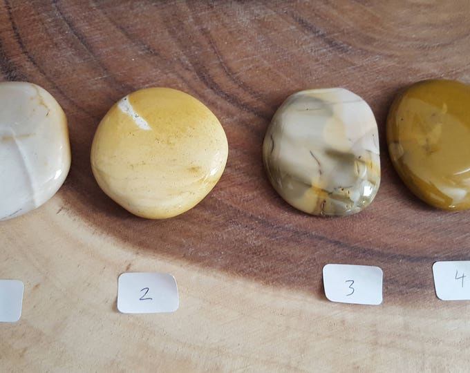 Large Mookite Palm Stone in shades of gold, Chakra Stone, Worry Stone, Fidget Stone~1 Reiki infused polished flat crystal, approx 2in
