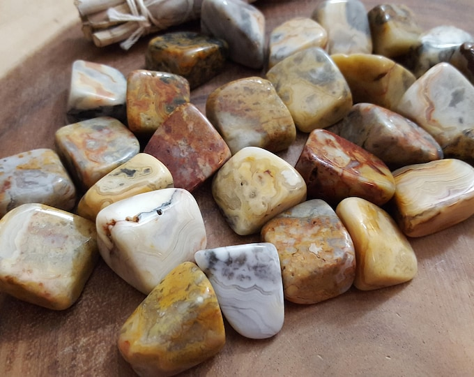Crazy Lace Agate ~ 1 large Reiki infused tumbled stone approx 1-1.2 inches