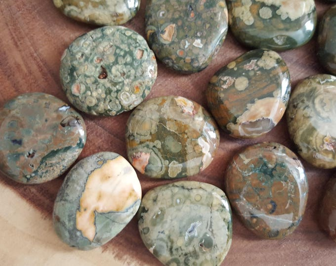 Medium Rainforest Jasper (Rhyolite) Palm Stone, Chakra Stone, Worry Stone, Fidget Stone ~ 1 Reiki infused polished flat stone approx 1.75 in