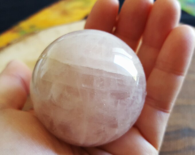 Rose Quartz A Grade Sphere ~ One 50mm Reiki infused crystal ball with stand (RQ02)