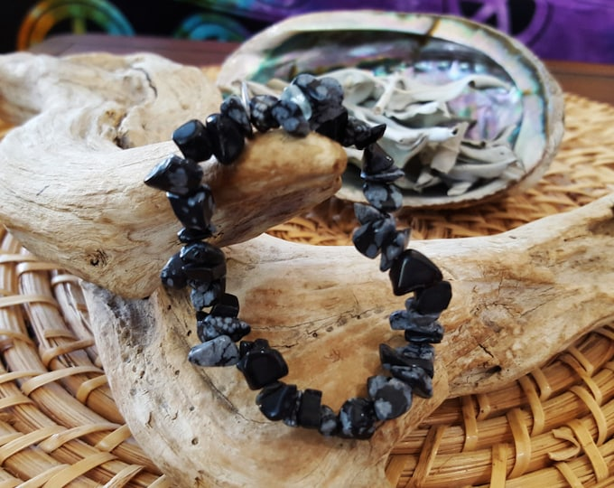 Snowflake Obsidian Stretchy Bracelet ~ One Reiki infused crystal chip bead bracelet approx 7 inches