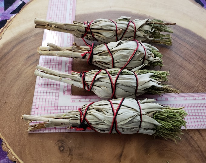 Small California White Sage with Juniper (Salvia Apiana & Juniperus) Torch style bundle 4 inches, wild harvested, Reiki infused