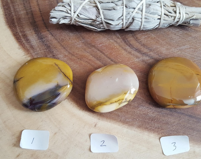 Medium Mookite Palm Stone in shades of gold, Chakra Stone, Worry Stone, Fidget Stone-1 Reiki infused polished flat crystal approx 1.75in