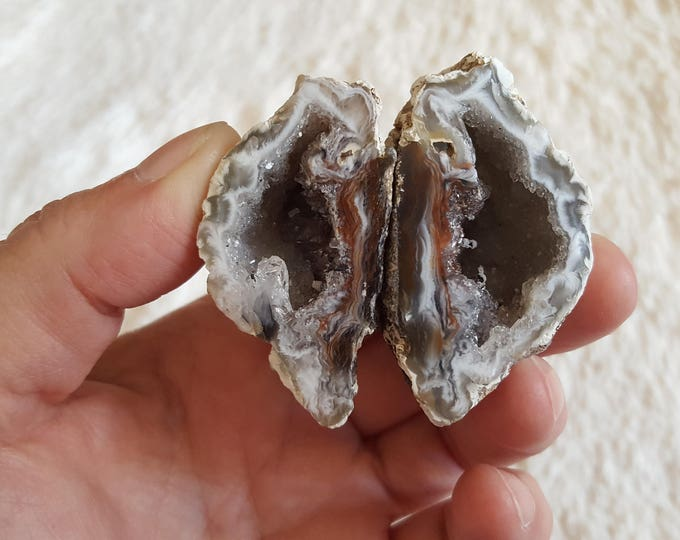 Occo Geode Pair ~ 1 Reiki infused cut and polished geode pair (OGP17)