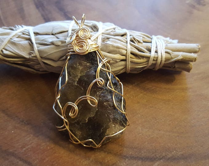 Rough Multi-colored Tourmaline gold colored copper wire wrapped pendant, Reiki infused approx 2.4x1.4 inches (WW34)