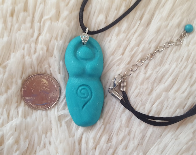 Goddess, Divine Feminine, Divine Mother Throat chakra necklace in shimmery teal with turquoise bead