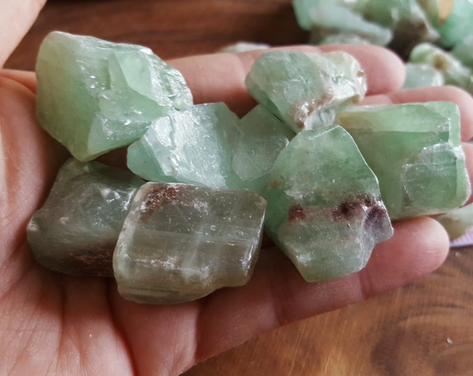 Green Calcite ~ 1 small Reiki infused rough crystal approx 1-1.25 inches