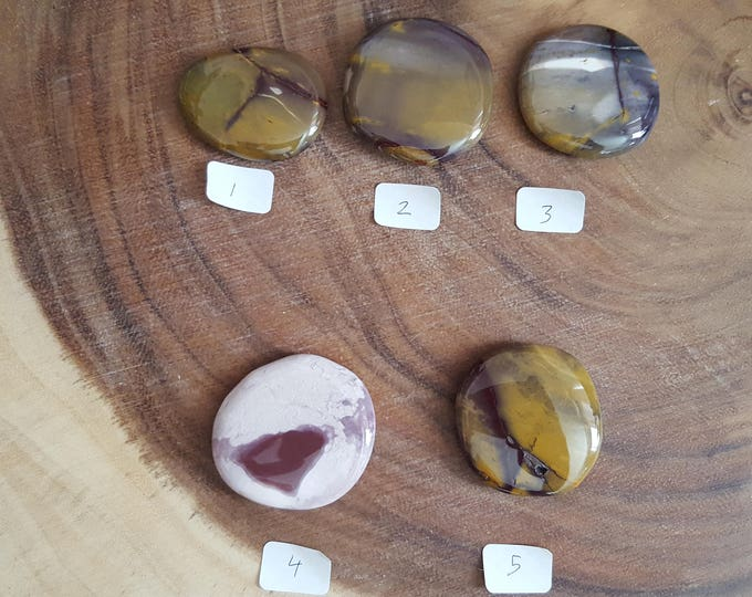 Medium Mookite Palm Stone in shades of purple, Chakra Stone, Worry Stone, Fidget Stone~1 Reiki infused polished flat crystal, approx 1.75in