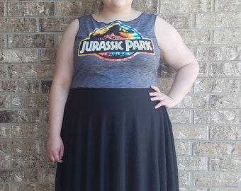 Women's Jurassic Park Plus Size Cosplay Dress with Pockets