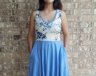 Women's Blue Floral Dress with pockets