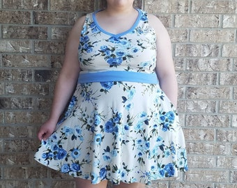Women's  Blue Floral Plus Size Dress