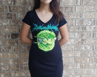 Rick and Morty Fitted V Neck T shirt dress
