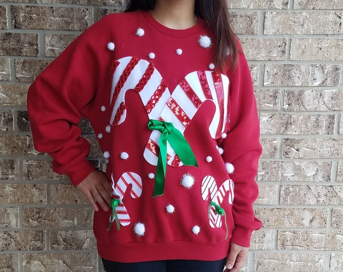 Ugly Christmas Candy Cane Sweater / Tacky Holiday Sweater / Holiday Sweater / Ugly Christmas Sweater