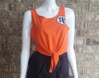 Upcycled Dragon Ball Z Front Tie Tank Top