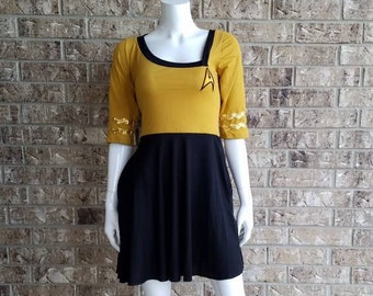 Star Trek Command Gold Retro Dress with pockets/ Star Trek Costume / Star Trek Cosplay/ Star Trek Dress