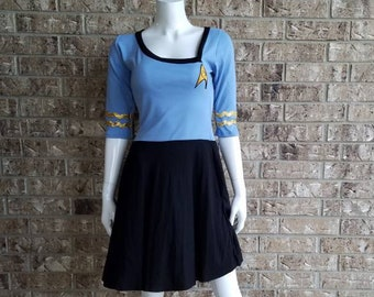 Women's Star Trek Blue Cosplay Dress with pockets