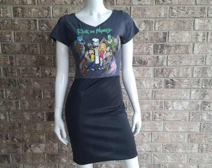 Rick and Morty Group Grill Out V neck Dress/ Rick and Morty Dress/ Rick and Morty