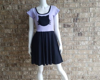 Women's Purple Kitty  Dress with Pockets