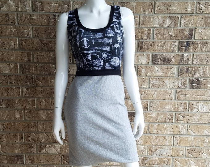 Star Wars Gray and Black Space Ships Dress