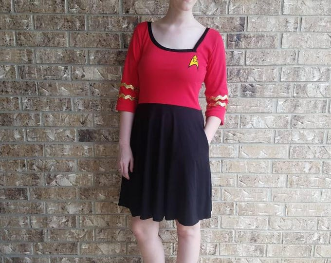 Star Trek Engineer Red Retro Dress with pockets/ Star Trek Costume / Star Trek Cosplay/ Star Trek Dress
