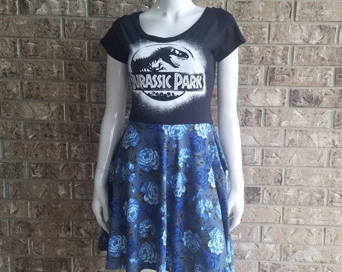Jurassic Park Black and Blue Floral Dress