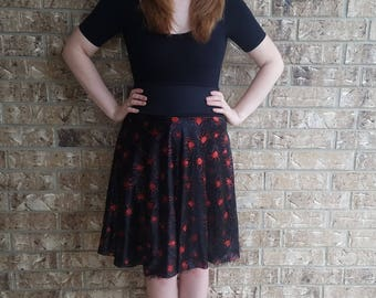 Red Glitter Spider High waist Pinup Skirt