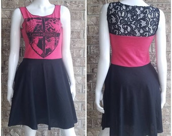 Game of Thrones Red and Black Lace Dress with pockets