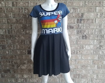 Super Mario A line Dress with Pockets / Super Mario Skater Dress/ Mario Odyssey Dress with pockets