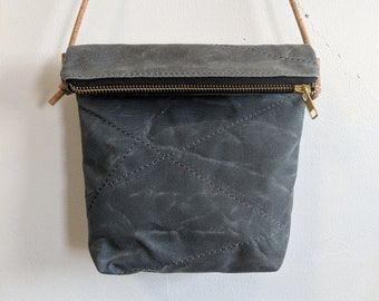 Crossbody waxed canvas purse, zipper pouch