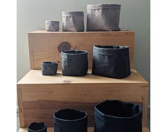Waxed canvas basket, planters, storage
