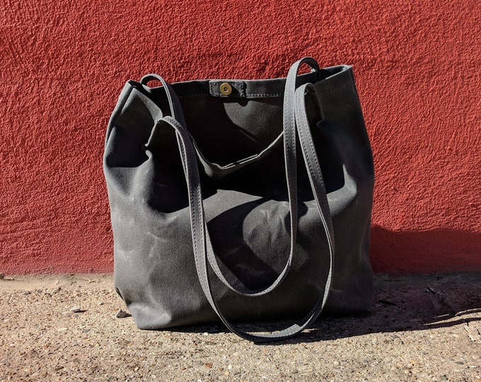 Featured listing image: Large market tote bag in slate gray waxed canvas