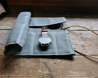 Watch roll in waxed canvas, 5 pockets