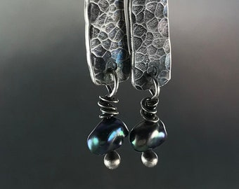 Tiny Teal Pearl and Silver Earrings