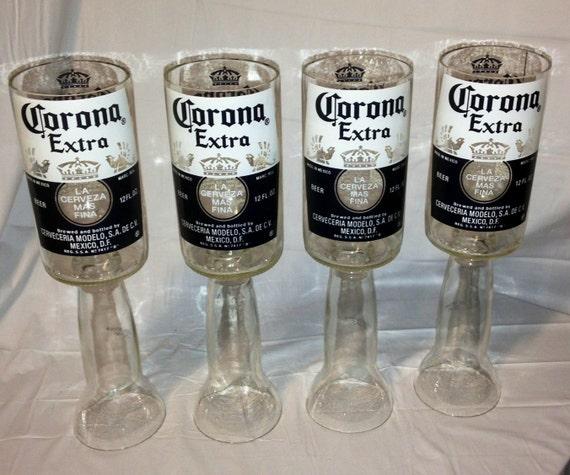 Wine Glass Corona Beer Bottle Recycled Upcycled Etsy