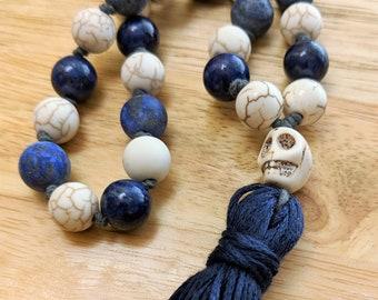 27 Bead Quarter Mala- Howlite and Lapis Lazuli