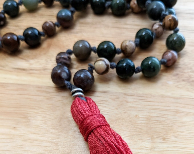 54 Bead Half Mala Necklace- Zebra Stone and Fancy Jasper