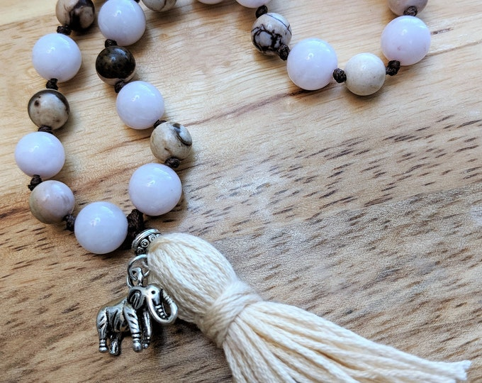 27 Bead Quarter Mala- Rose Quartz and Zebra Stone