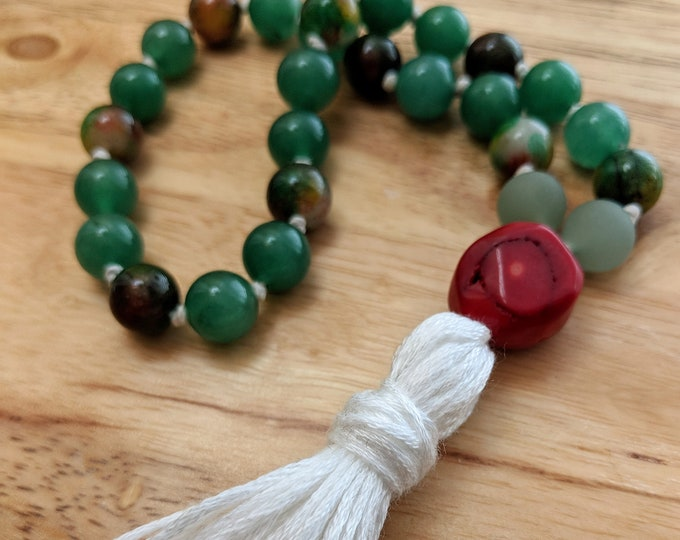 27 Bead Quarter Mala- Green Aventurine & Brown and Green Jade