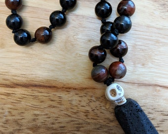 27 Bead Quarter Mala- Tigerseye, Obsidian and Lava Beads