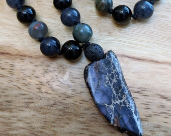 27 Bead Quarter Mala- African Blood Quartz, Onyx and Dark Slate Jade