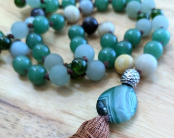 54 Bead Half Mala Necklace- Aventurine, Jade & Amazonite