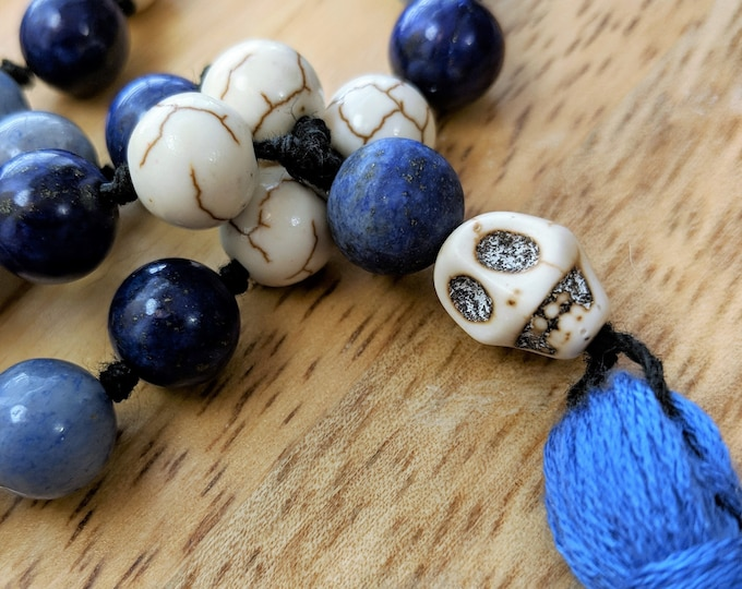 54 Bead Half Mala Necklace- Blue Aventurine, Lapis Lazuli, Howlite, and Blue Jade