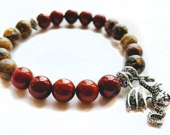 Red & Leopard Jasper Dragon Charm Bracelet