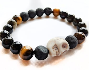 Tigerseye, Gold Obsidian and Lava Bead Bracelet