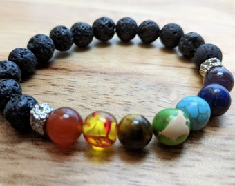 Chakra Stones Lava Bead Essential Oil Bracelet