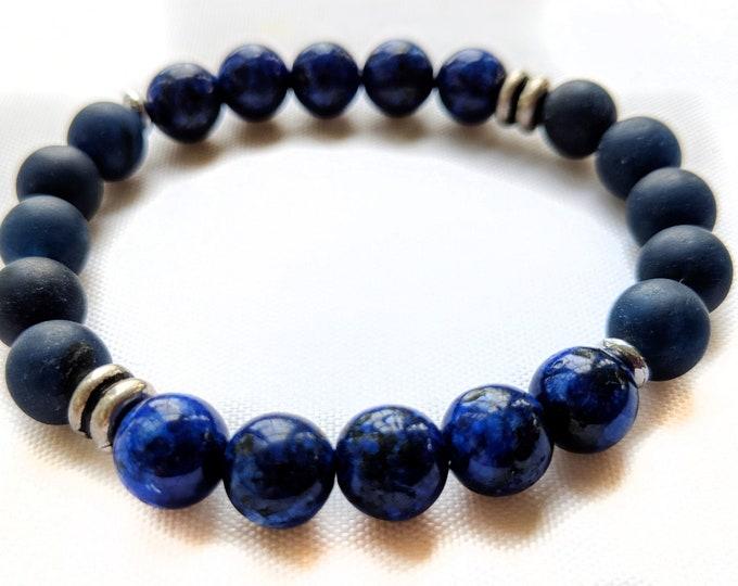 Iron Jade & Lapis Kiwi Jade Gemstone Bracelet