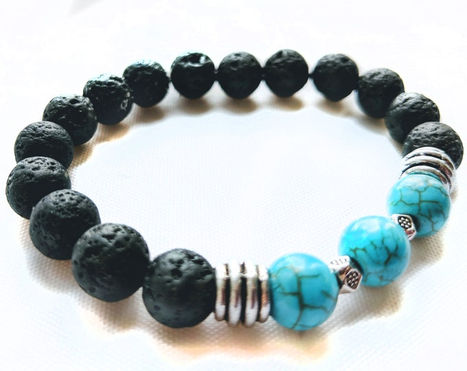 Howlite and Lava Bead Gemstone Bracelet