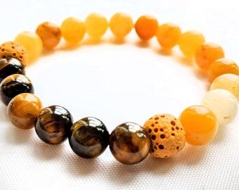Tigerseye, Yellow Jade & Lava Bead Bracelet