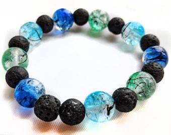 Lava Stone & Glass Bead Bracelet